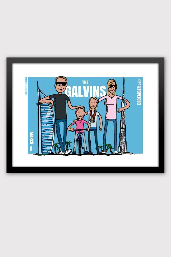 Family leaving present illustration